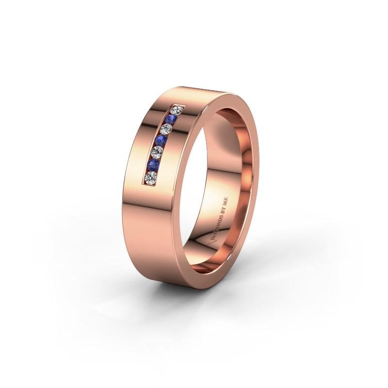 Wedding ring WH0108L16BP 375 rose gold sapphire ±6x2 mm