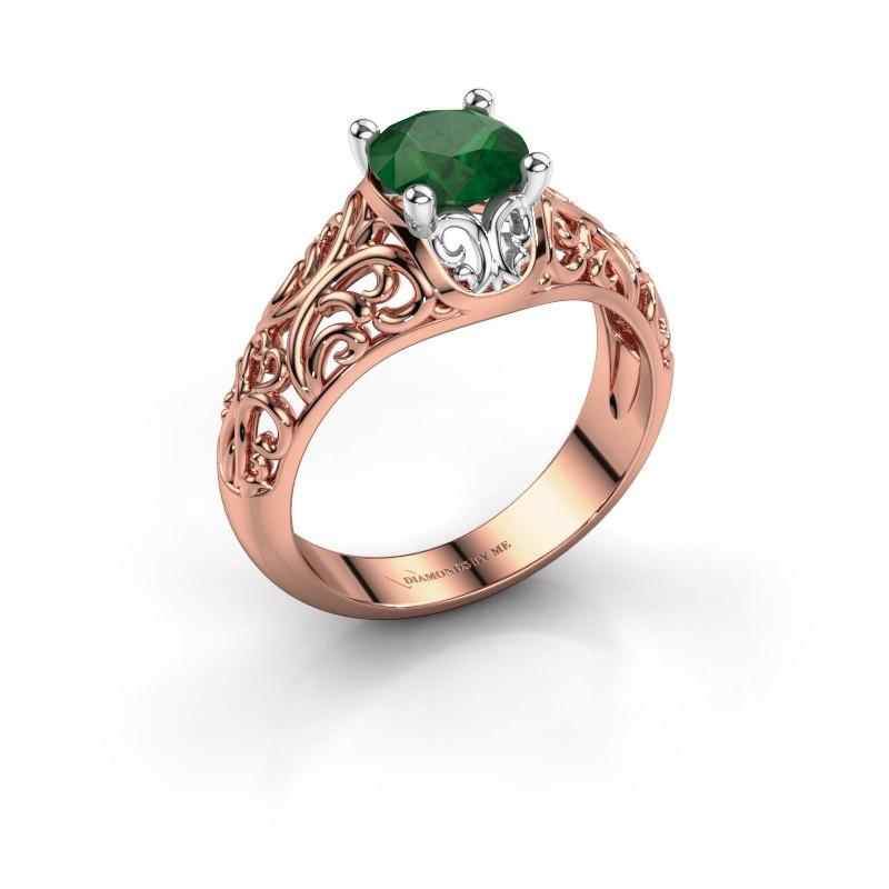 Ring Mirte 585 rosé goud smaragd 6.5 mm