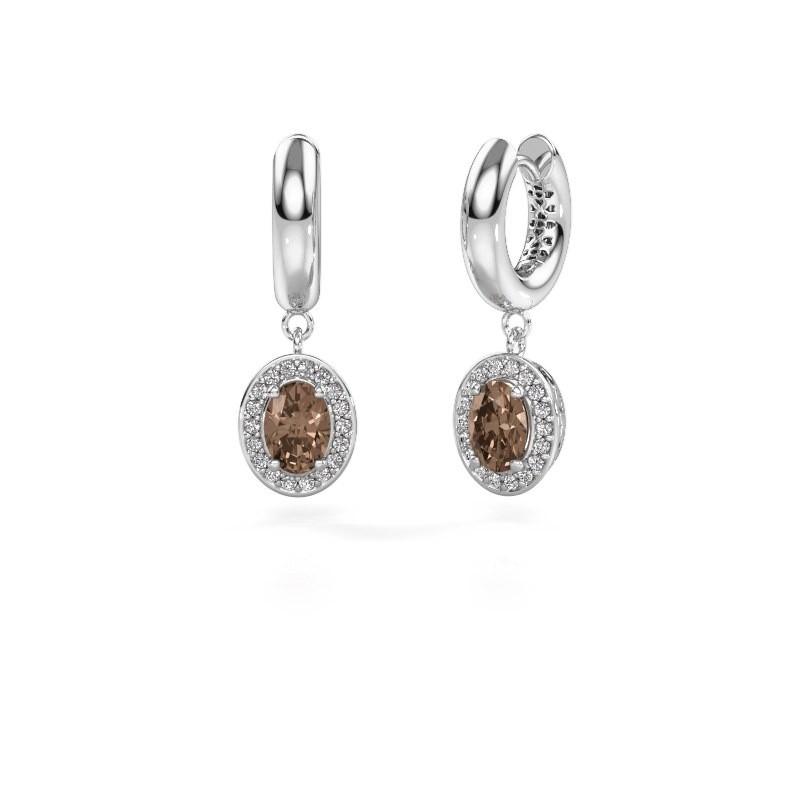 Drop earrings Annett 950 platinum brown diamond 1.87 crt