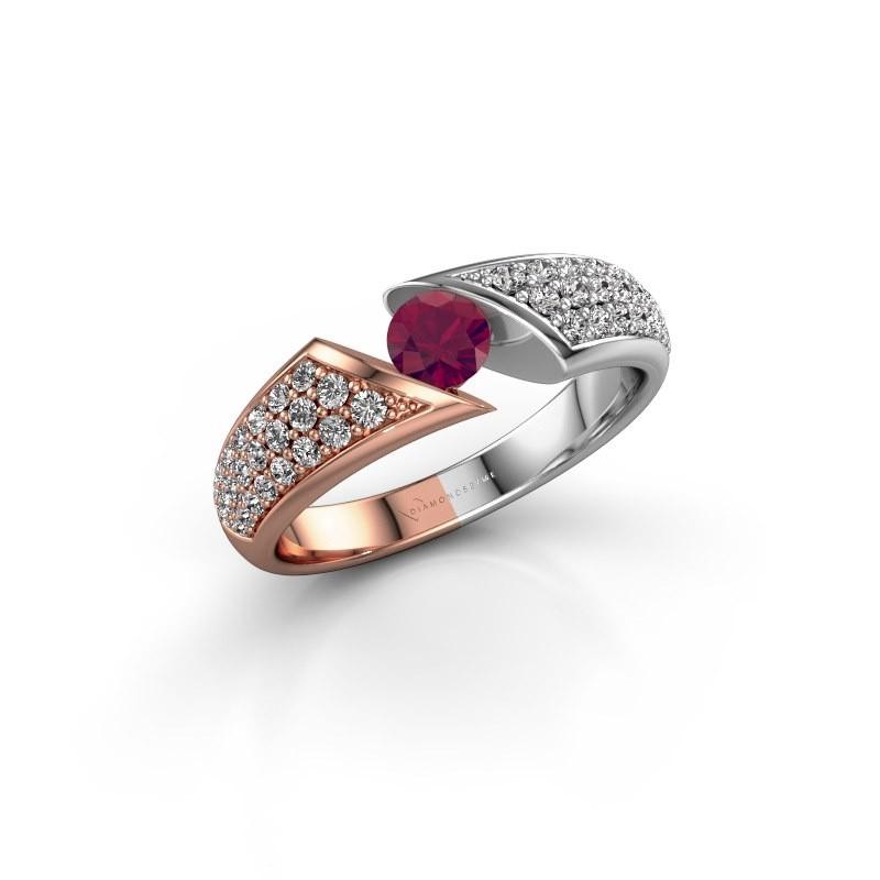 Engagement ring Hojalien 3 585 rose gold rhodolite 4.2 mm