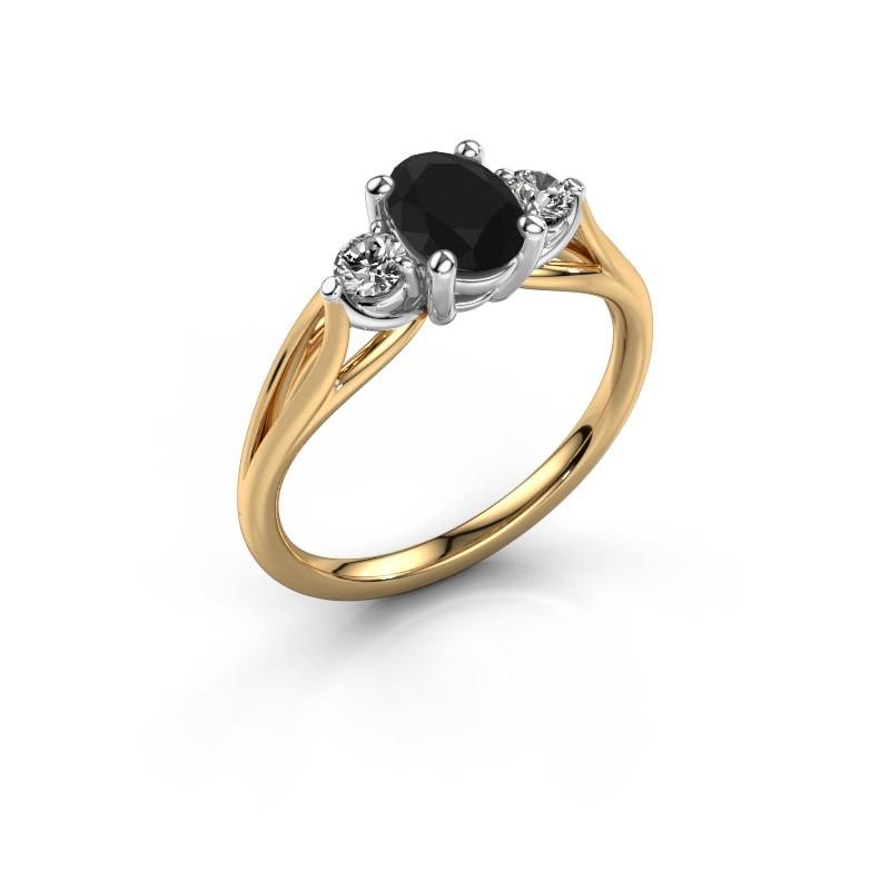 Verlovingsring Amie OVL 585 goud zwarte diamant 1.25 crt