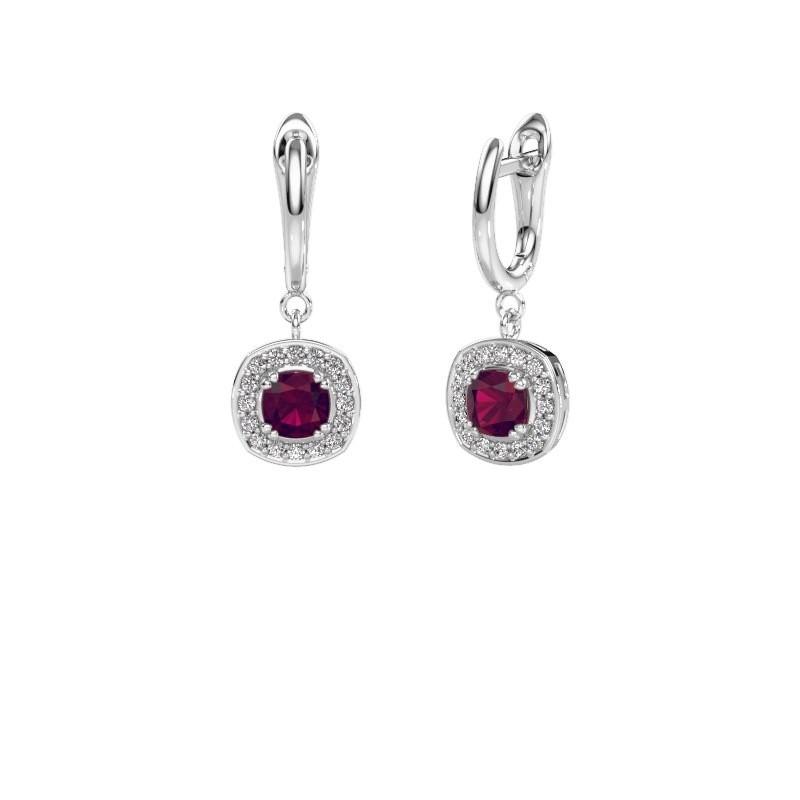 Drop earrings Marlotte 1 950 platinum rhodolite 5 mm