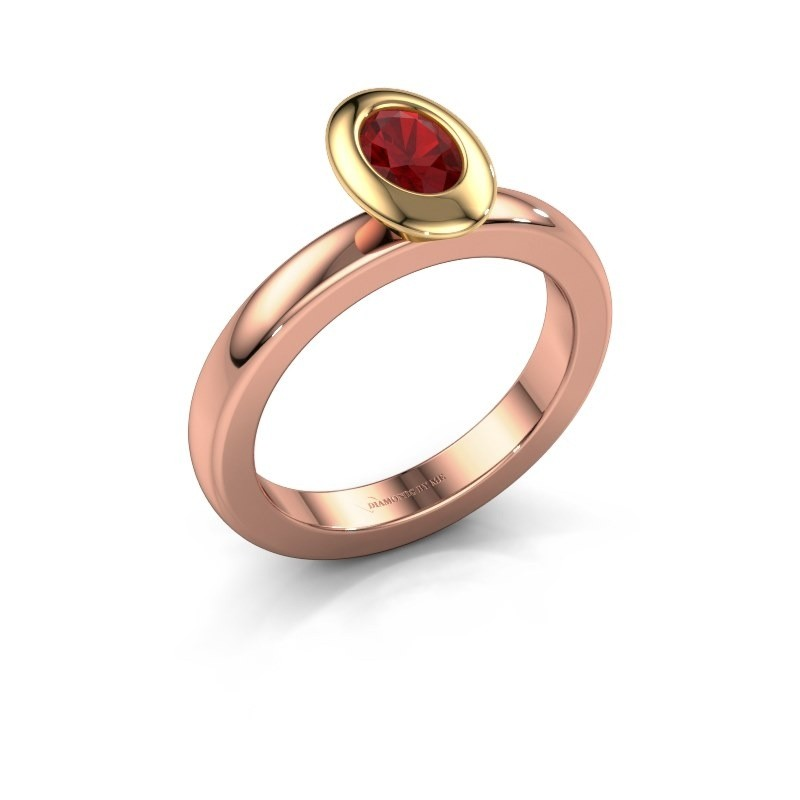 Stacking ring Trudy Oval 585 rose gold ruby 6x4 mm