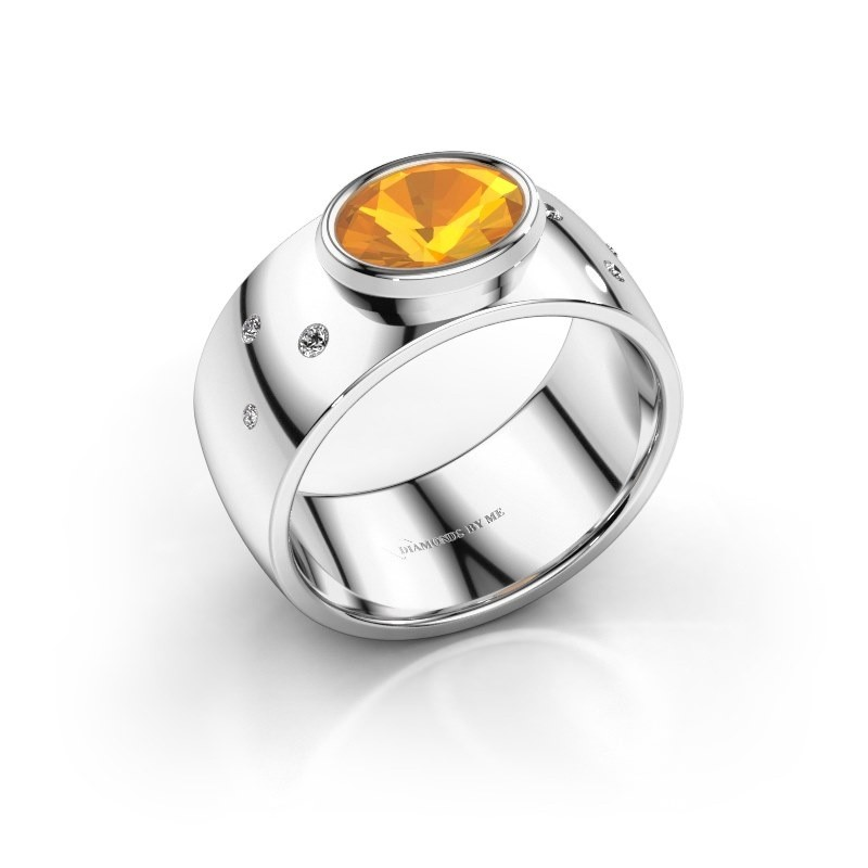 Ring Wilma 2 585 witgoud citrien 8x6 mm