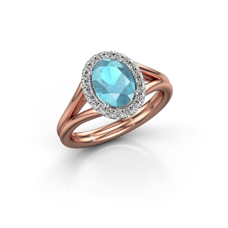 Engagement ring Rachele 1 585 rose gold blue topaz 8x6 mm