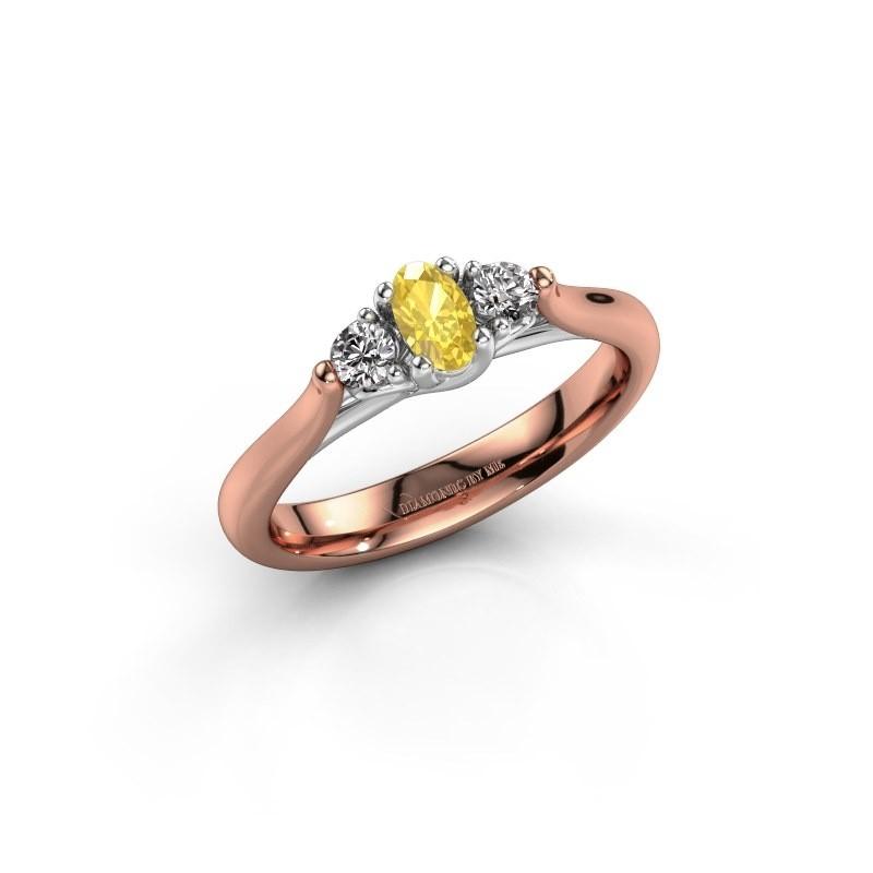 Verlovingsring Jente OVL 585 rosé goud gele saffier 5x3 mm