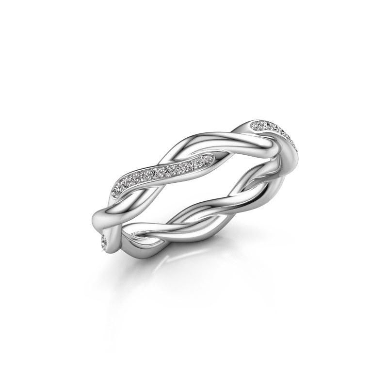 Aanschuifring Swing half 585 witgoud diamant 0.18 crt