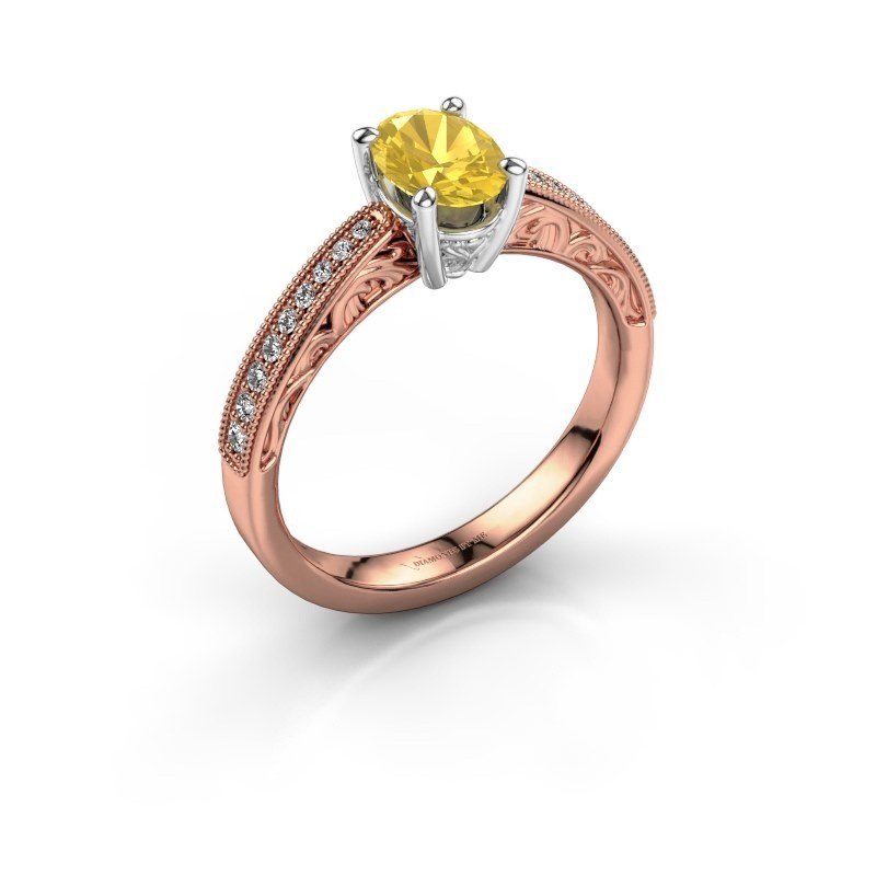 Verlovingsring Shonta OVL 585 rosé goud gele saffier 7x5 mm