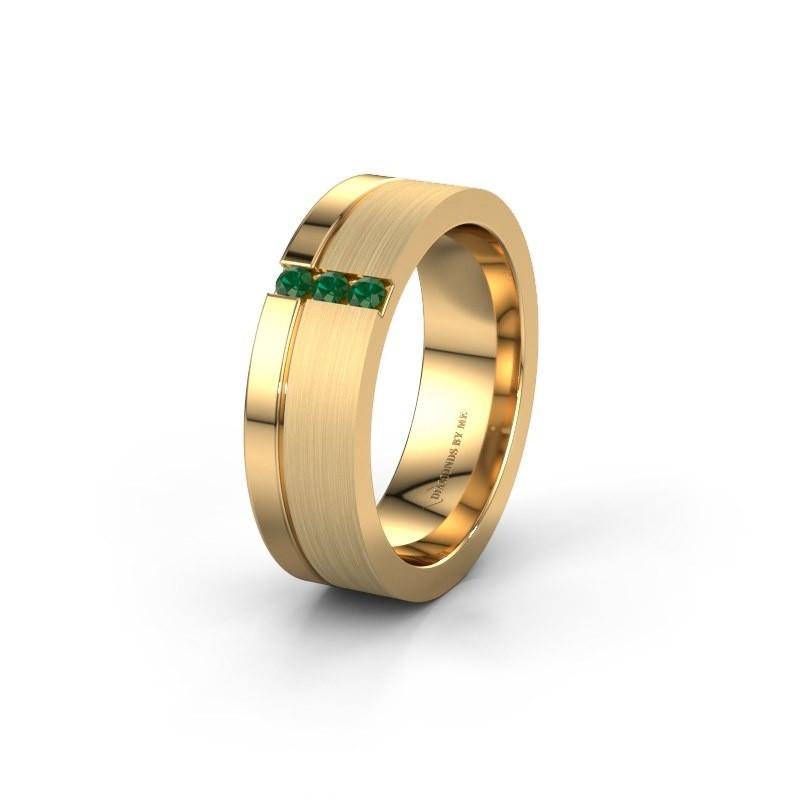 Trouwring WH0327L16B 585 goud smaragd ±6x2 mm