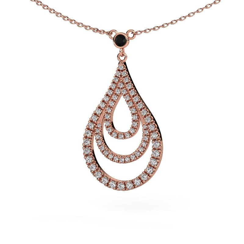 Hanger Delpha 375 rosé goud zwarte diamant 0.490 crt