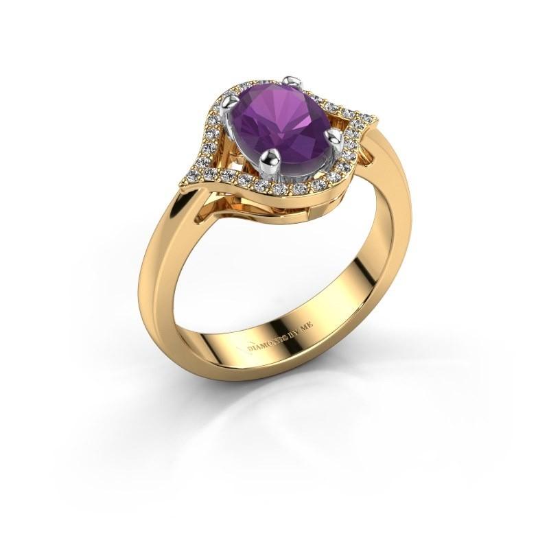Ring Mendy 585 goud amethist 8x6 mm