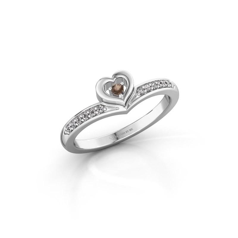 Ring Mimi 585 white gold smokey quartz 2 mm
