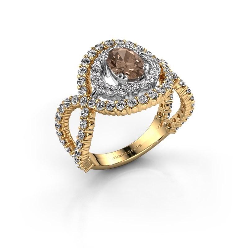 Ring Chau 585 goud bruine diamant 1.97 crt