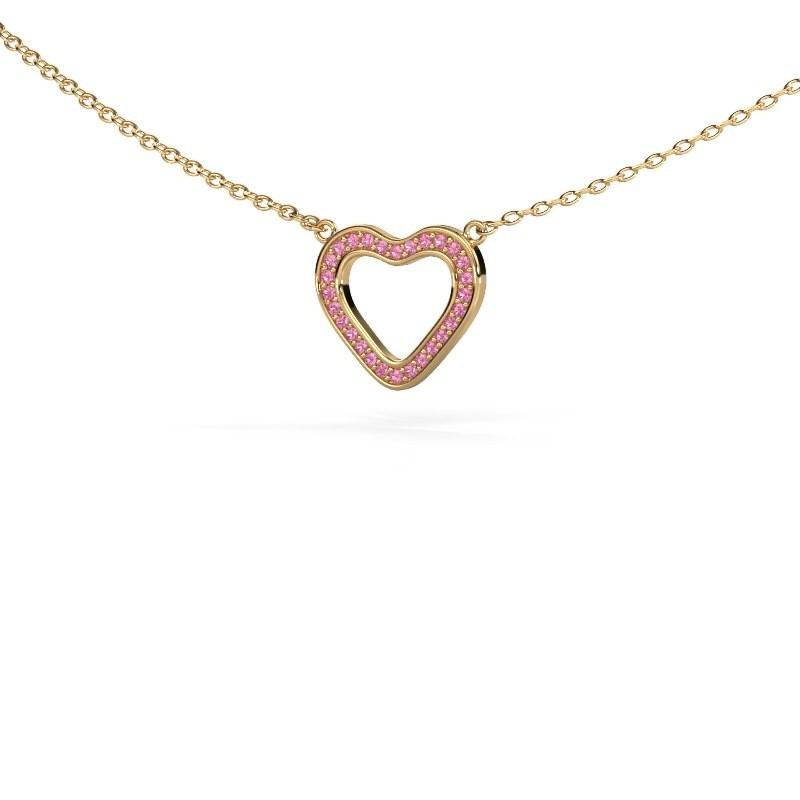 Hanger Heart 3 375 goud roze saffier 0.8 mm