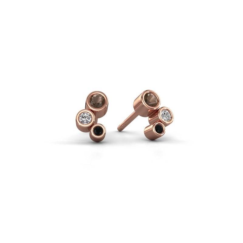 Oorstekers Marlys 375 rosé goud rookkwarts 2.5 mm