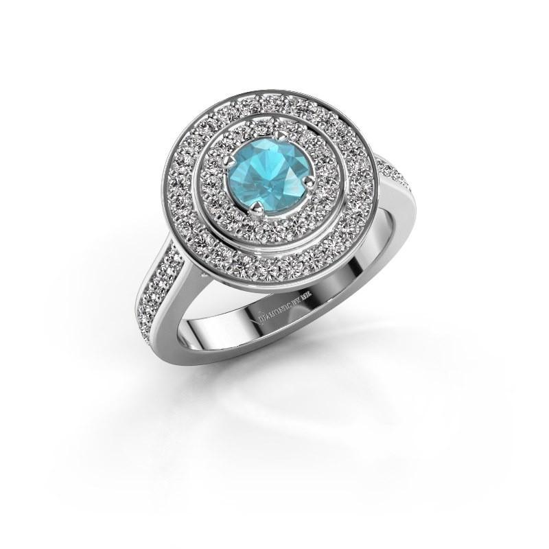 Ring Alecia 2 950 platina blauw topaas 5 mm