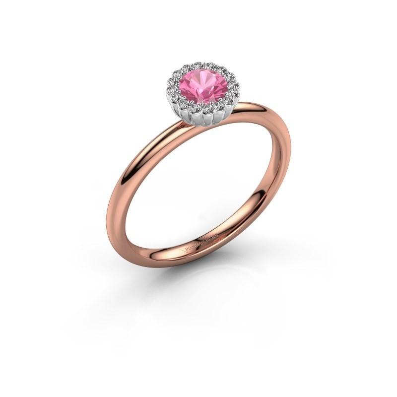 Verlovingsring Queen 585 rosé goud roze saffier 4.2 mm