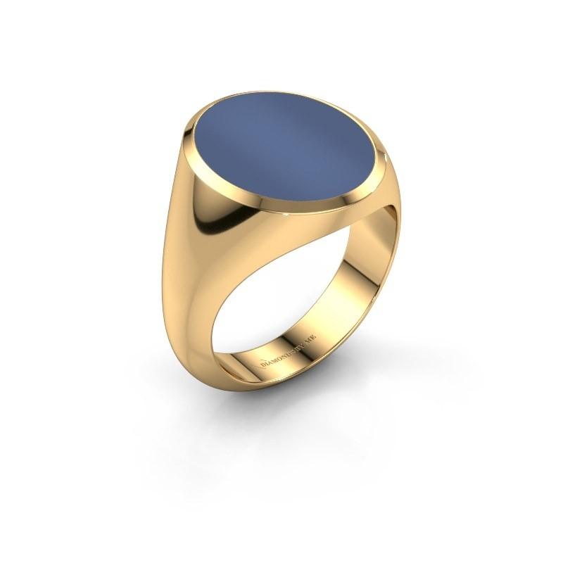 Zegelring Herman 6 585 goud blauw lagensteen 16x13 mm