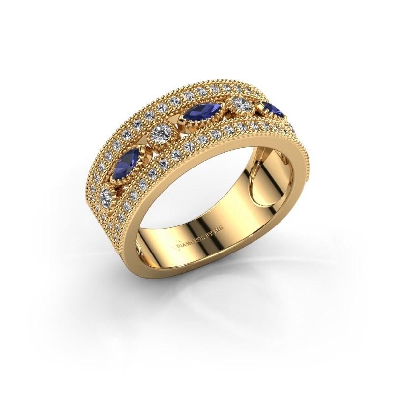 Ring Henna 375 goud saffier 4x2 mm