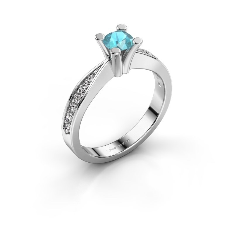 Promise ring Ichelle 2 585 witgoud blauw topaas 4.7 mm