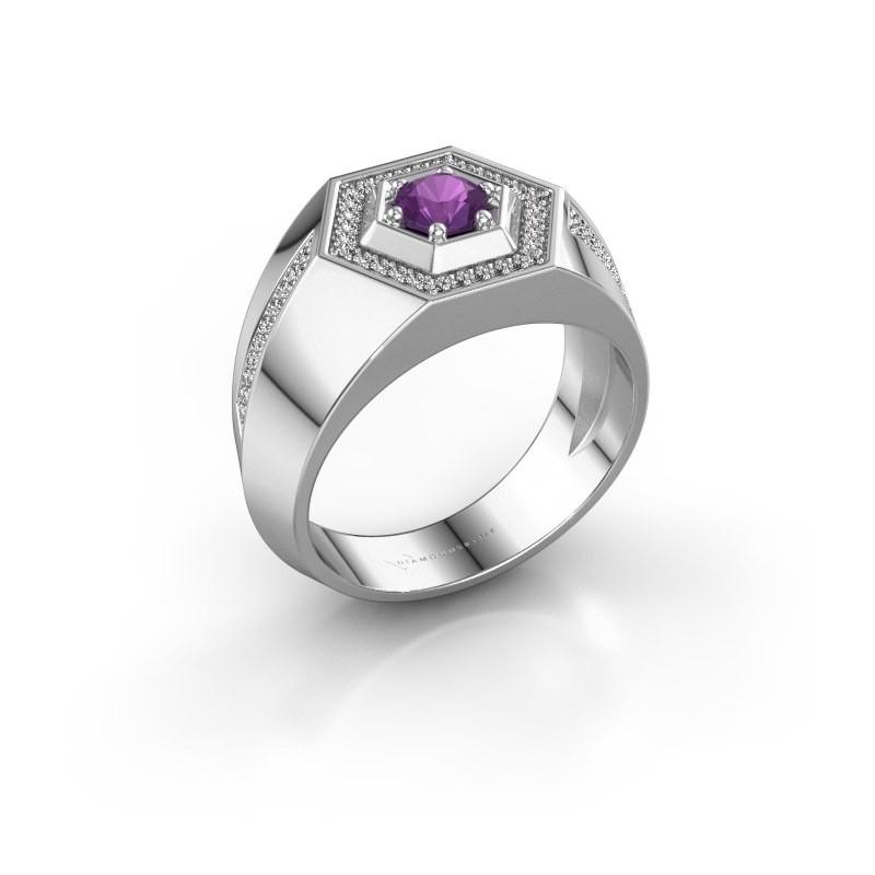 Men's ring Sjoerd 950 platinum amethyst 4.7 mm