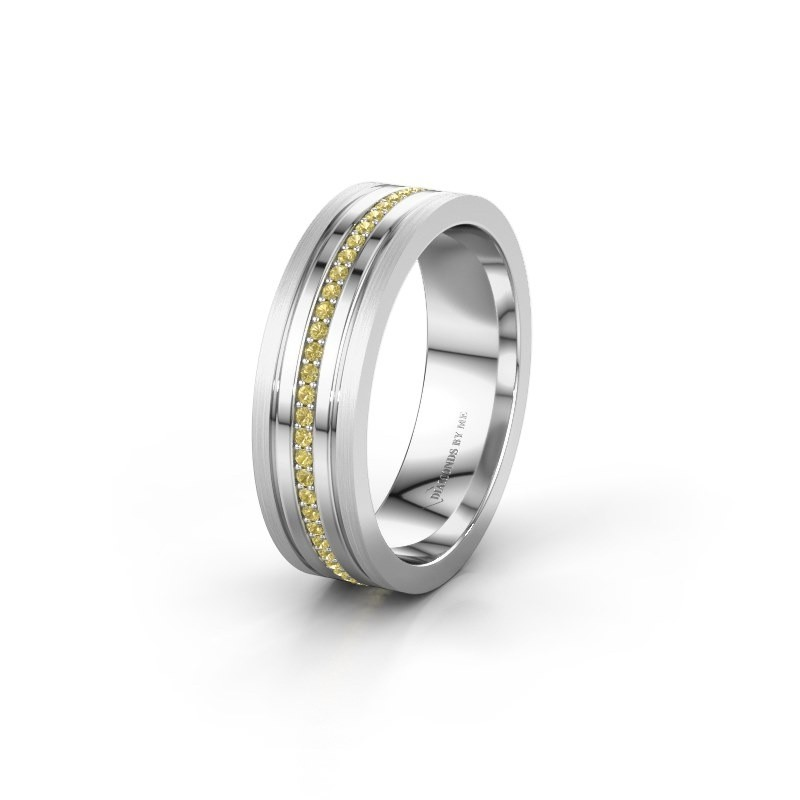 Wedding ring WH0404L16A 585 white gold yellow sapphire ±6x1.7 mm