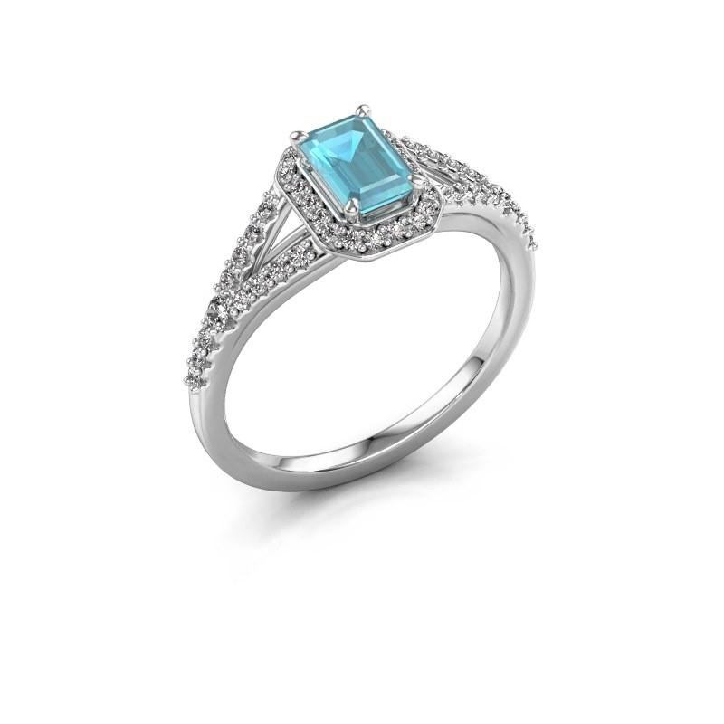 Verlovingsring Pamela EME 585 witgoud blauw topaas 6x4 mm