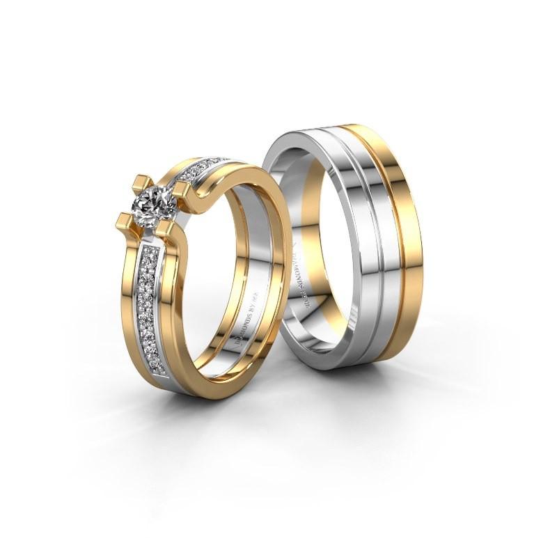Trouwringen set WHR0035LM16AP ±6x1.7 mm 14 karaat witgoud diamant 0.50 crt