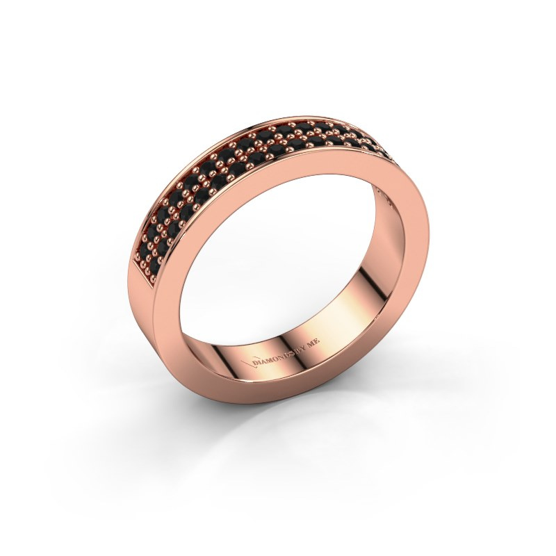 Aanschuifring Catharina 4 585 rosé goud zwarte diamant 0.432 crt