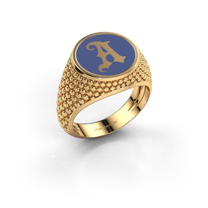 Monogramm Ring Zachary 585 Gold Blau Emaille