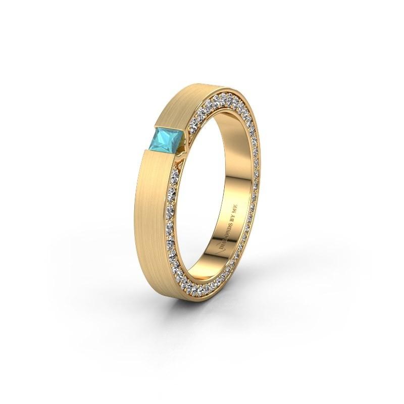 Wedding ring WH2140L14B 375 gold blue topaz ±3,5x2 mm
