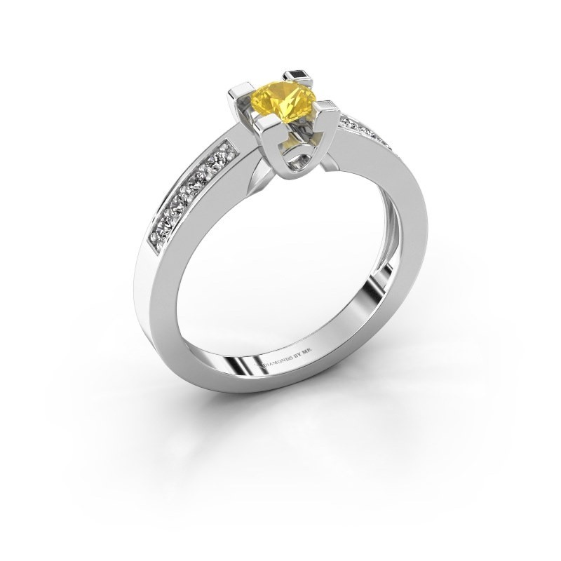 Verlovingsring Nina 2 925 zilver gele saffier 4.2 mm