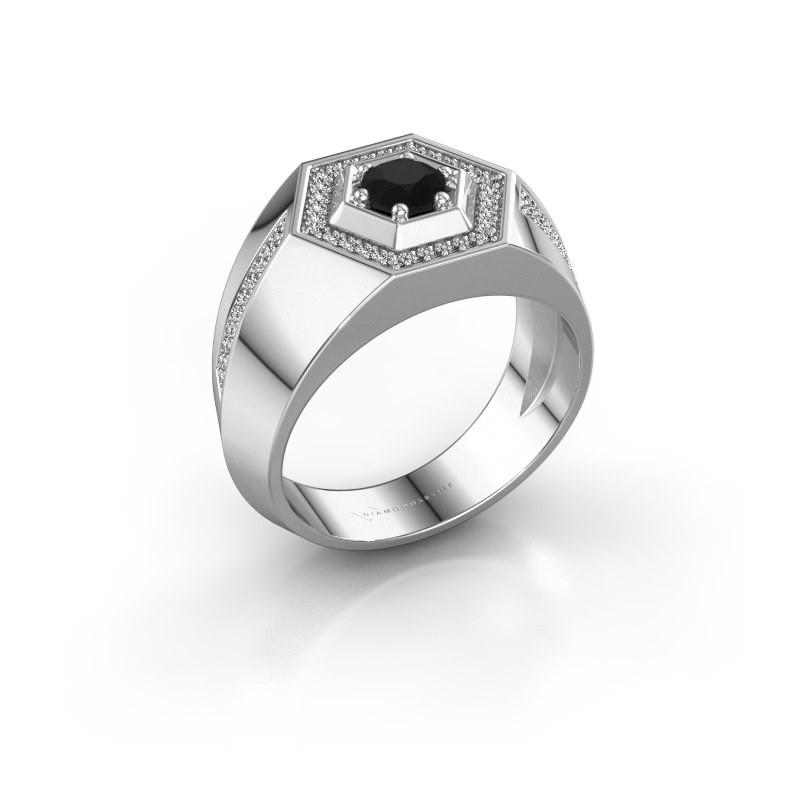 Men's ring Sjoerd 925 silver black diamond 0.81 crt