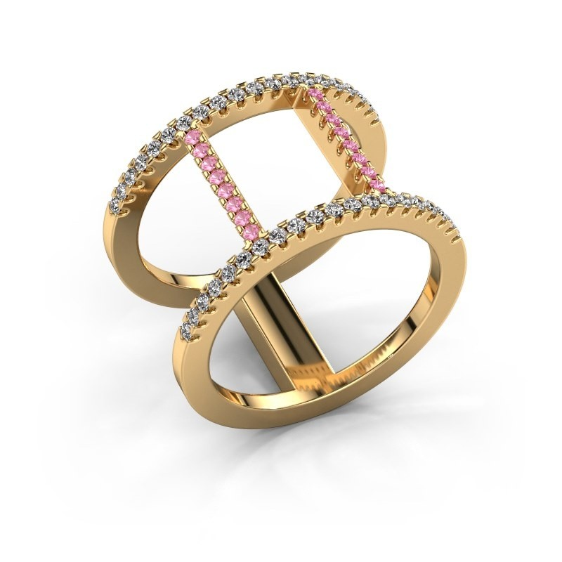 Ring Amee 375 goud roze saffier 1.2 mm