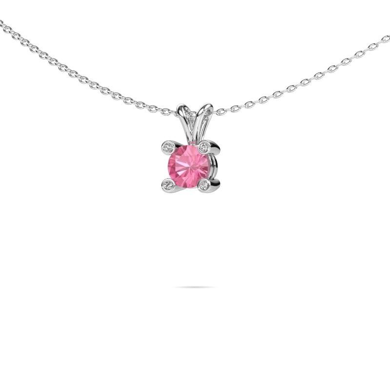 Hanger Fleur 925 zilver roze saffier 5 mm
