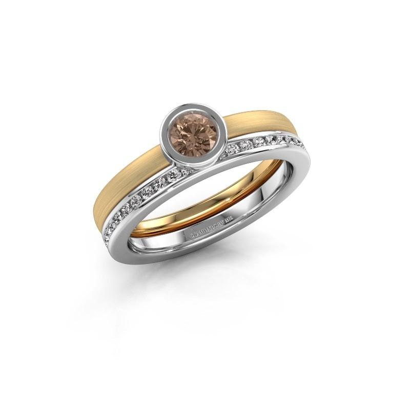 Ring Cara 585 goud bruine diamant 0.69 crt
