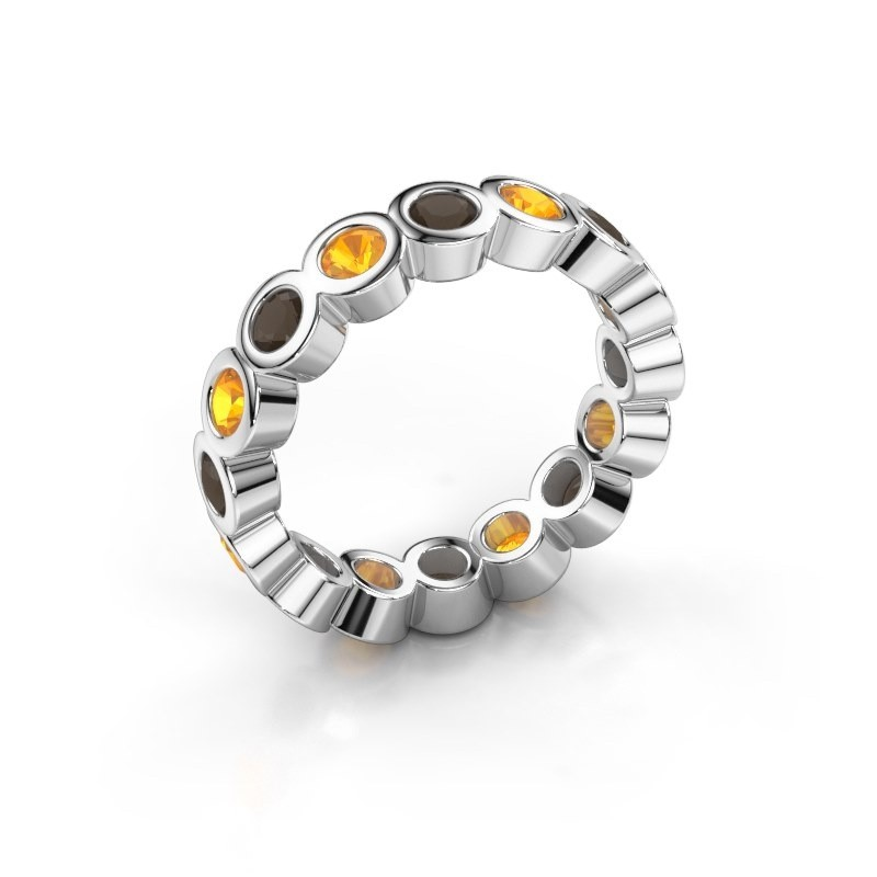 Stackable ring Edwina 3 585 white gold smokey quartz 3 mm