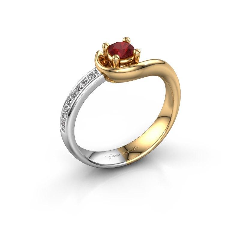 Ring Ceylin 585 goud robijn 4 mm