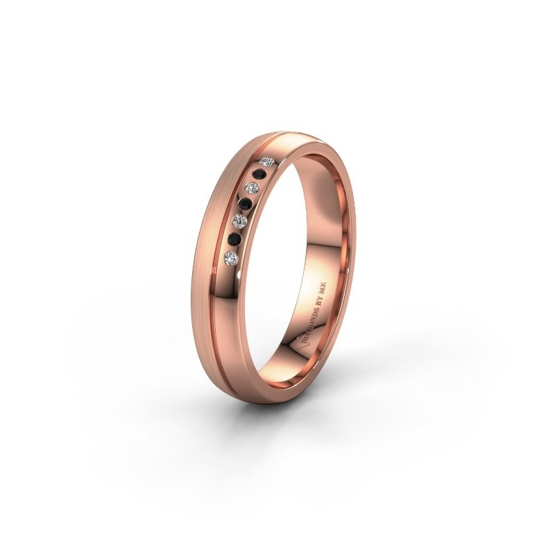 Wedding ring WH0216L24APM 585 rose gold black diamond ±4x1.7 mm