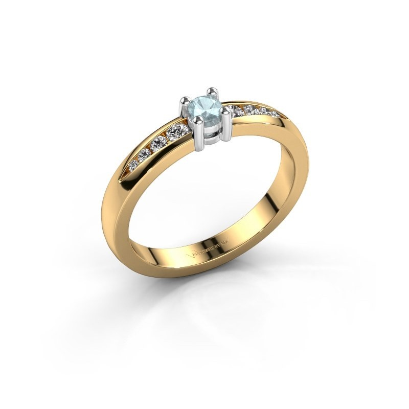 Verlovingsring Zohra 585 goud aquamarijn 3 mm