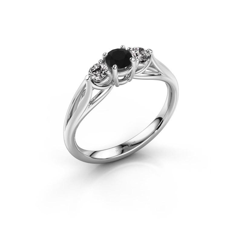 Verlovingsring Amie RND 585 witgoud zwarte diamant 0.56 crt