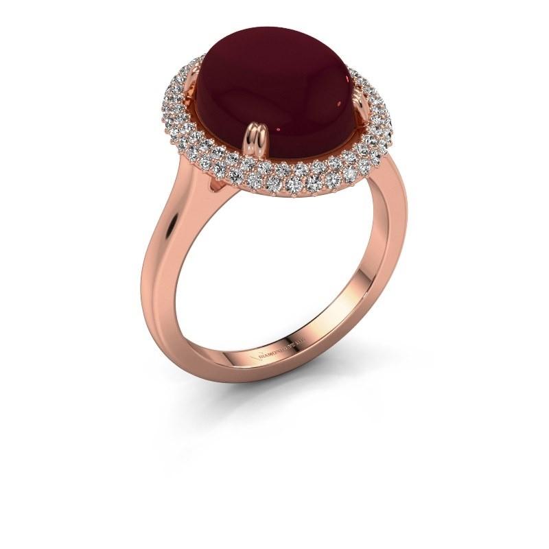 Ring Jayna 375 rosé goud granaat 12x10 mm
