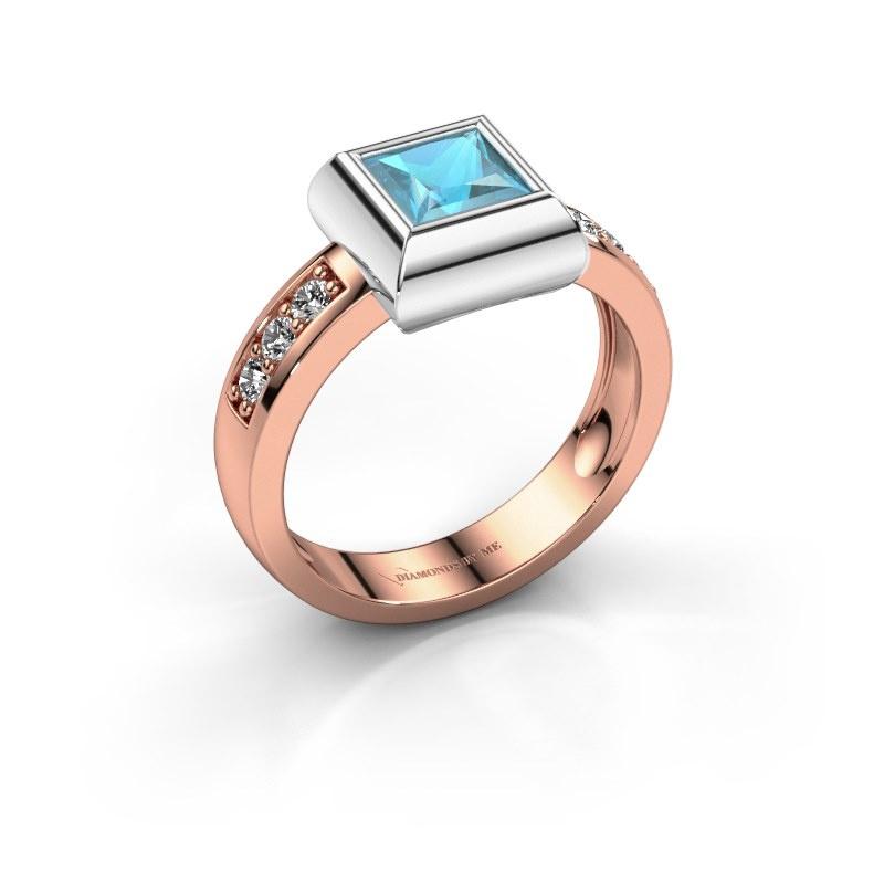 Ring Charlotte Square 585 rose gold blue topaz 5 mm