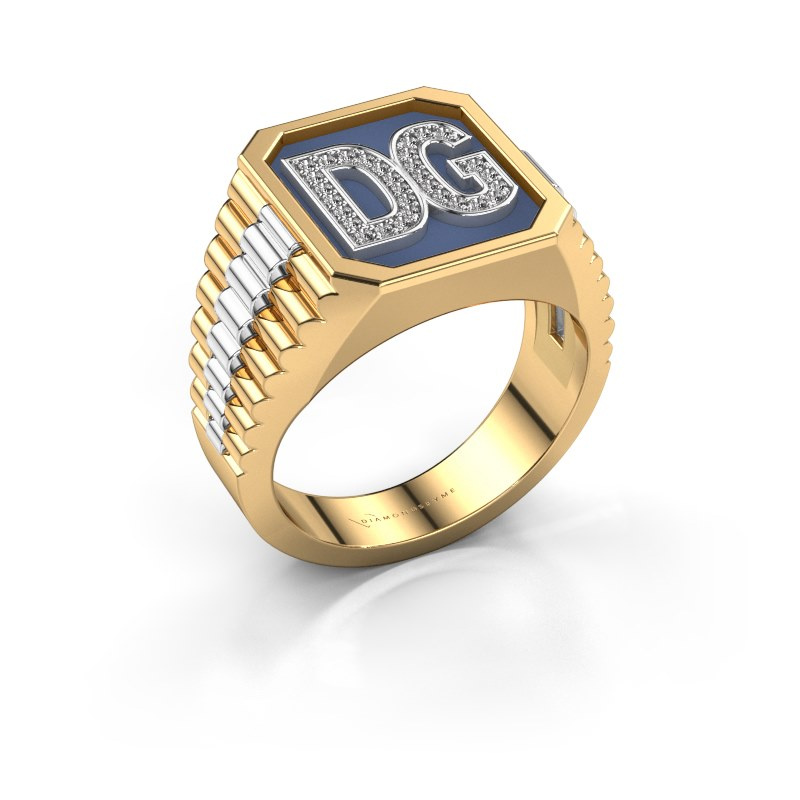 Signet ring Mike 585 gold zirconia 1 mm