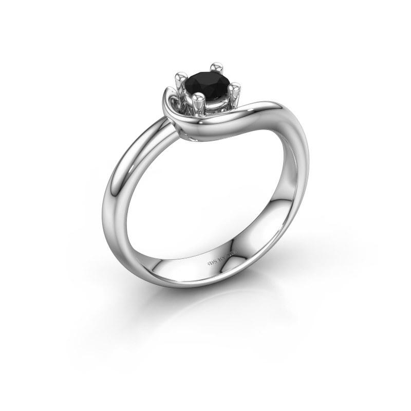 Ring Lot 585 witgoud zwarte diamant 0.30 crt