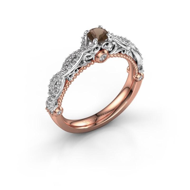 Verlovingsring Chantelle 585 rosé goud rookkwarts 4 mm