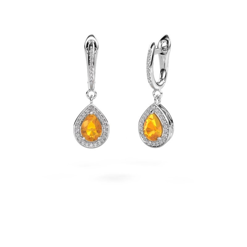 Pendants d'oreilles Ginger 2 950 platine citrine 7x5 mm