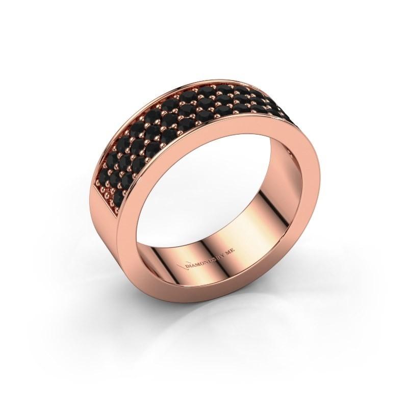 Ring Lindsey 6 375 rosé goud zwarte diamant 0.984 crt