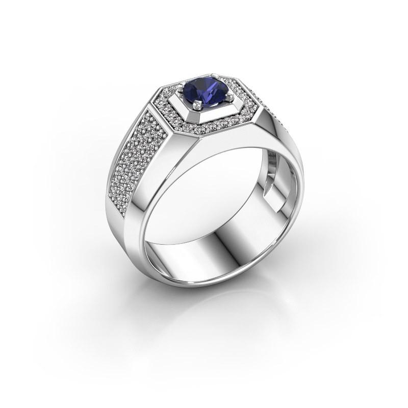 Heren ring Pavan 375 witgoud saffier 5 mm