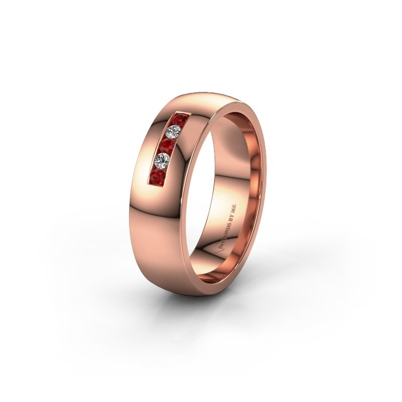 Wedding ring WH0107L26BP 375 rose gold ruby ±0.24x0.08 in
